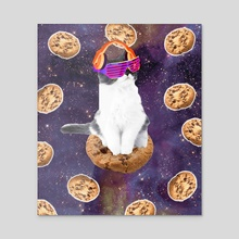 Rave Kitty Cat On Choc Cookie In Space - Acrylic by Random Galaxy