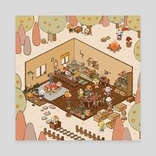 Orange Doggies - Back - Canvas by Hatsu Midori