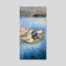 Budva, Montenegro - Old Town and sea, original watercolor art - Acrylic by Nenad Kojić