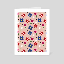 Floral spring pattern - Art Card by Kenya Aguirre