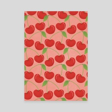 Cherries - Pink - Canvas by Brianna Gonzalez