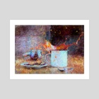 Coffee Splash Impressionist Painting - Art Print by Bridget Garofalo