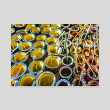 Mate Cups on Sale at Fair Street, Montevideo, Uruguay - Canvas by Daniel Ferreira Leites
