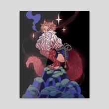 Fantasy Kitsune - Acrylic by Juliette Cousin