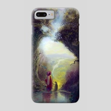 LandScape of a distant land-A wizard taking his dog out for a walk - Phone Case by Antony Siganakis