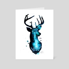 Milky Way Deer Silhouette with Crystals - Art Card by Addison Kanoelani