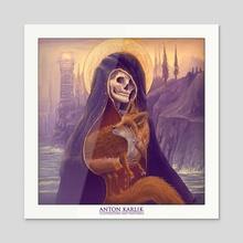 Skeleton and the fox - Acrylic by Anton Karlik