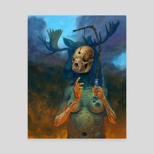 Prayer Skull - Canvas by Jeff Christensen
