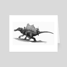 Spinosaurus Posse - Art Card by Shaun Keenan