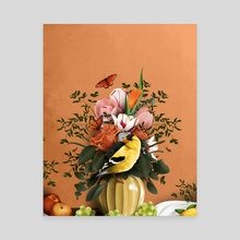 Goldfinch Still Life - Canvas by Emily Coletta