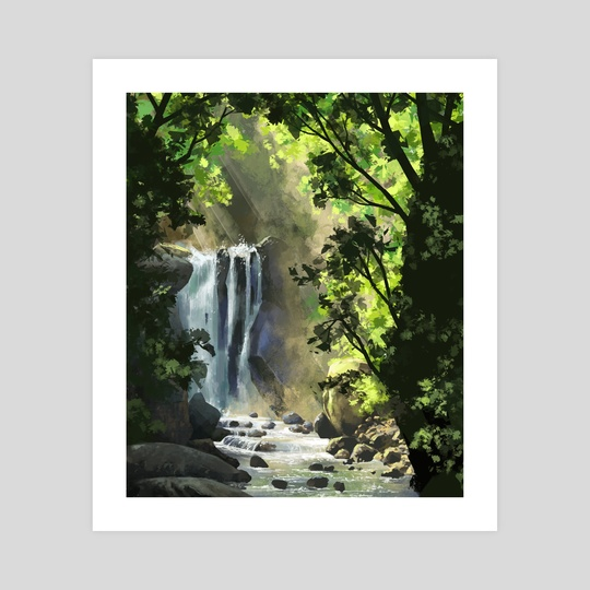 Forest waterfall by Ashley.art