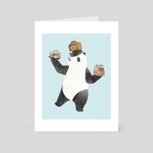 Delivering Panda Coffee - Art Card by Maika