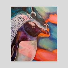 Crowned Retaliation (Penguin & Leopard Seal) - Canvas by Zelveri Lunari