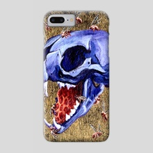 Metallic Purple Cat Skull - Phone Case by Kat Powell