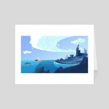 Blue Fishing Boat - Art Card by Jenna Fife