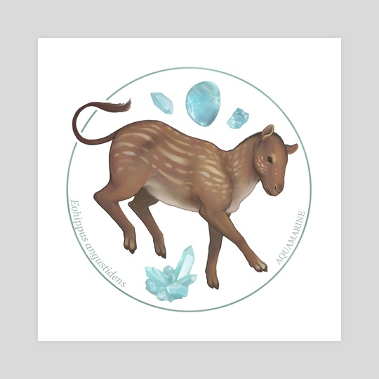 Eohippus angustidens with aquamarine by Alisa B.