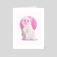 Happy pink monkey - Art Card by Valériane Duvivier