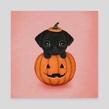 Puppy in a pumpkin - Canvas by Eda Herz