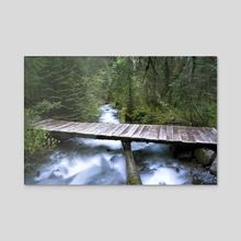 Flathead River Footbridge, MT - Acrylic by Bob Rollar