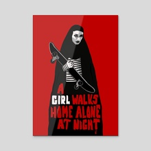 A Girl Walks Home Alone At Night - Acrylic by Daniel Rodrigues