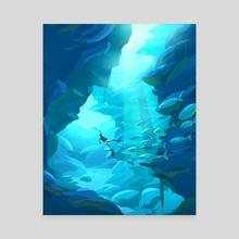 Diving - Canvas by Arina Mochalova