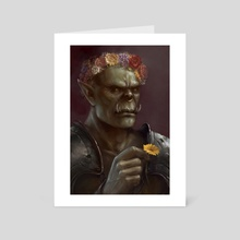 Orc in a Flower Crown - Art Card by Kim Sokol