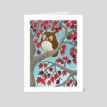 "Owl in a Red-leaf Maple Tree - Art Card by Leslie ""Wren"" Vandever"