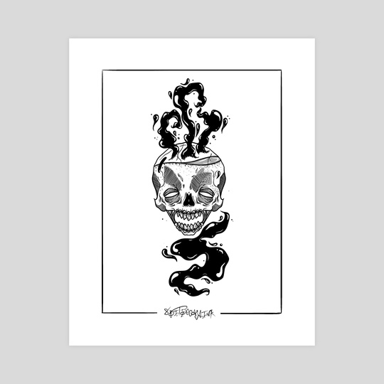 Brewing Skull by 8BitDecay.Ink