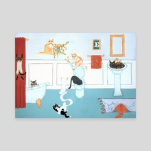 Mischievous Cats - Canvas by Caitlin Prothero