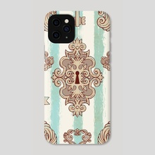 Seamless pattern with vintage keys and locks. Freehand drawing. - Phone Case by Julien LIEM