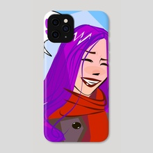 smiling girl with purple hair - Phone Case by Nikolay Chochrin