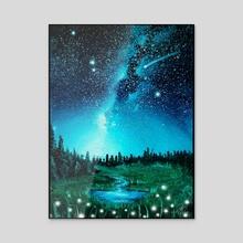 Playful Field at Night - Acrylic by Addison Kanoelani
