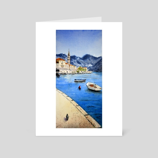 Perast, Montenegro - Old Town, original watercolor art by Nenad Kojić