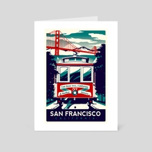 san francisco cable car california - Art Card by matt schnepf