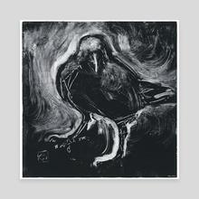 Monotype Crow [3] - Canvas by Kirsti Wakelin