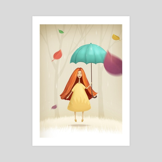 Girl  jumping with umbrella in autumn by Olga Yatsenko