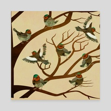 A choir of birds on a tree - Canvas by Michal Eyal