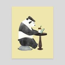 Afternoon Panda Coffee - Canvas by Maika