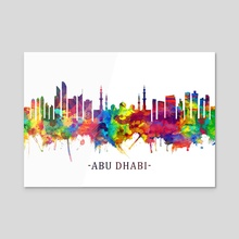 Abu Dhabi UAE Skyline Watercolor - Acrylic by Towseef Dar