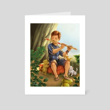 As he play his tunes. - Art Card by Theresa Melo