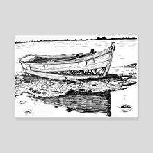 Old Broken Boat - Acrylic by Łukasz Bojke