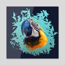 Triangle bird - Acrylic by Denise Wolfram
