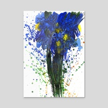 Blue Irises. Watercolor and Ink. - Acrylic by Tatiana Rusanovska