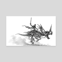 Skeleton warrior with styracosaurus - Canvas by Shaun Keenan