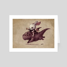 Mr Rabbit and Earl the gnome - Art Card by Shaun Keenan