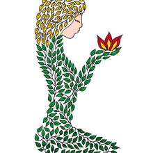 Woman of leaves in meditation. A symbolic picture. Grace. Beautiful girl. Female image - Canvas by Dmytro Rybin