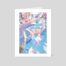 Iridescent Pastel Morning at Shinjuku Station - Art Card by Kia Hau Lau