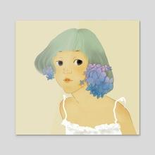 girl and hydrangea flower - Acrylic by Van Tran