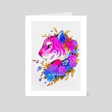 Pink Tiger Drawing - Art Card by Isabella Isla