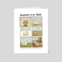 Animals Doing Yoga - Art Card by Connie Sun